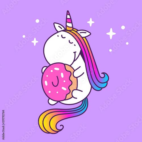 Vector line art illustration of magic white unicorn with donut #391792764