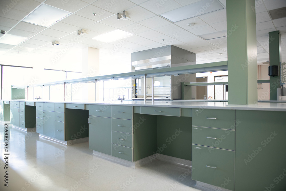 Fototapeta New scientific laboratory with green bench and cabinets