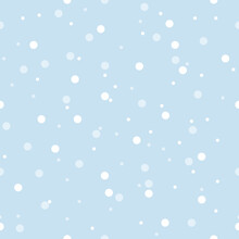 Vector Baby Blue Snowfall Seamless Pattern Background.