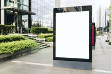 Blank White Banner On Sunny City Street, Mock Up