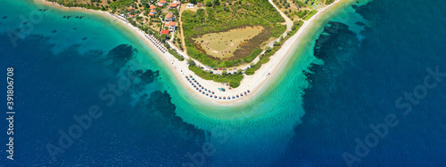 Fototapeta Aerial drone ultra wide panoramic view of tropical paradise sandy beach visited