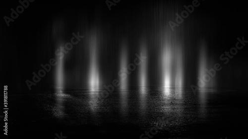 Obraz Dark street, black background, glare of light on the wet asphalt. Rays and lines, smoke. Dark city street. - fototapety do salonu