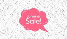 Summer Sale. Pink Speech Bubble On Polka Dot Pattern. Special Offer Price Sign. Advertising Discounts Symbol. Thought Speech Balloon On Polka Dot Background. Vector
