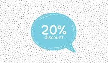 20% Discount. Blue Speech Bubble On Polka Dot Pattern. Sale Offer Price Sign. Special Offer Symbol. Dialogue Or Thought Speech Balloon On Polka Dot Background. Vector
