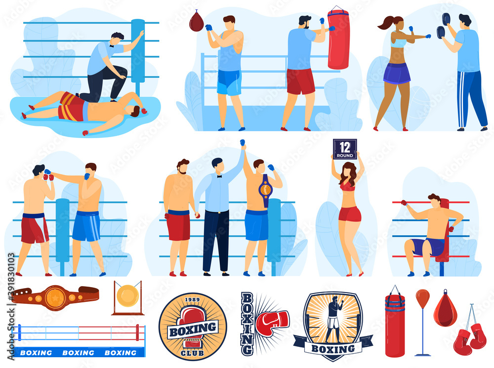 Fototapeta Boxer training sport, boxing set of vector illustrations. Box athlete, sparring referee announces victory, boxer punching bag, knockdown and professional sportsman with champion's belts. Boxing logos.