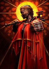 A Woman Priest With A Hammer, She Sternly Looks Ahead, She Is Wearing A Beautiful Red Cloak And Armor, Behind Her Head Is A Yellow Sun, Her Eyes Are Shining With Fire. 2D Illustration.