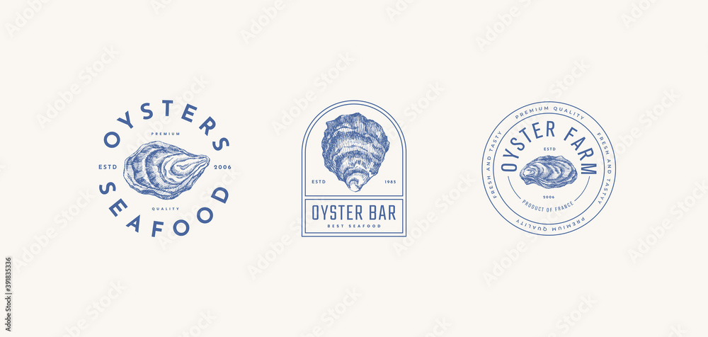 Fototapeta Set of logo templates for the menu of a fish restaurant, oyster farm or seafood store. Hand-drawn oyster shells vector illustration. Emblems of delicacies in the engraving style on a light background.