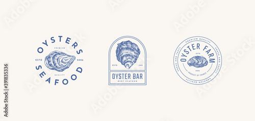 Set of logo templates for the menu of a fish restaurant, oyster farm or seafood store. Hand-drawn oyster shells vector illustration. Emblems of delicacies in the engraving style on a light background.