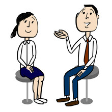 Young Businessman Who Is  Introducing A Worker Woman