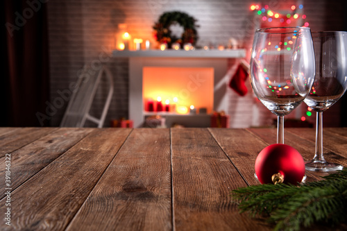 Christmas wooden table with attributes for preparing the holidays in a nice, rom Wallpaper Mural