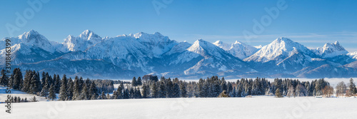 Canvas-taulu panoramic landscape at winter with alps mountains in Bavaria