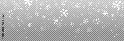 Falling snow on a transparent background Canvas