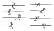 Rope Bow Collection Isolated On White Background. Hand Drawn Vector Illustration Set.