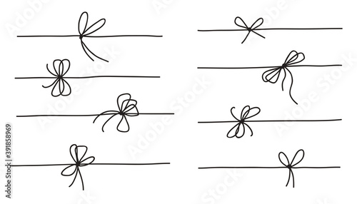 Photo Rope bow collection isolated on white background