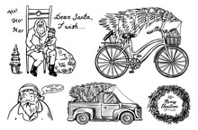 Car And Bicycle With A Christm...