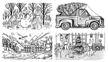 Winter Landscape With Mountains And Snow. Car With A Christmas Tree. The Family Makes A Snowman. Cozy Atmosphere. Hand Drawn Sketch. Vintage Engraved Sketch. Vector Illustration.