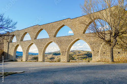 Fotografie, Obraz Morella aqueduct in Castellon Maestrazgo at Spain