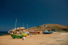View At Famous Pathos Bar And Painted Colorful Fishing Boats Near The Sea