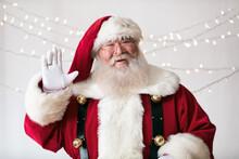 Santa Claus Laughs And Waves To Camera