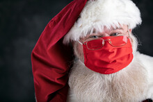 Santa Claus Smiles Behind Covid Safety Face Mask