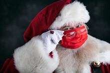 Santa Claus Smiles Behind Covid Safety Face Mask