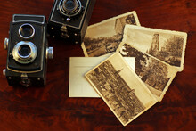 Old, Vintage TLR Camera - Twin Lens Reflex And Old Postcards