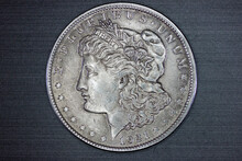 US Morgan Silver Dollar Coin Isolated (heads)