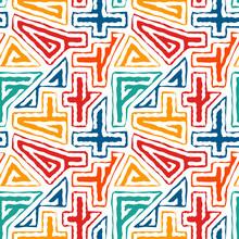 Bright Ethnic Seamless Pattern. Tribal Style Surface Print. Repeated Irregular Geometric Shapes Ornament. Maze Motif