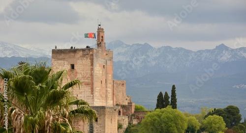 Torre de la Vela de la Alhambra de Granada, España Fototapet