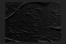 Black Crinkled Paper Texture Background