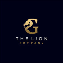 Letter G Lion Head , Elegant Luxury Initial Logo Design Vector