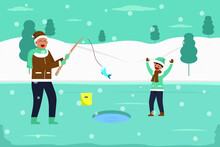 Winter Holiday Vector Concept: Little Boy And Grandfather Fishing In The Frozen Lake Together