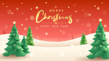 Merry Christmas. Vertical Winter Landscape Background With Christmas Tree.