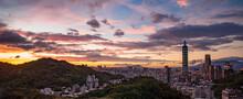 Sunset Panorama Of Taipei City