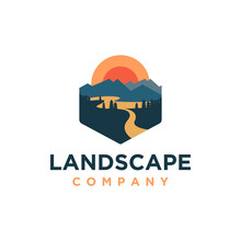 Outdoor Mountain And River Landscape Adventure Logo Icon Vector Template On White Background
