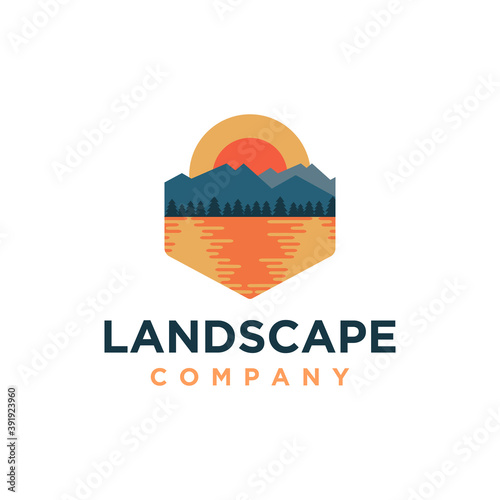 Canvas Print Outdoor mountain and sea lake landscape adventure logo icon vector template on w
