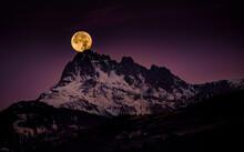 Red Full Moon Setting On The Chabrieres' Needles - Coucher De Lune Sur Les Aiguilles De Chabrières, Reallon, Hautes Alpes, France
