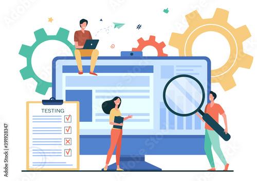 Fototapeta Tiny people testing quality assurance in software obraz