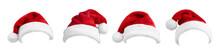 Set Of Red Santa Hats On White...