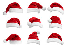Set Of Red Santa Hats On White...