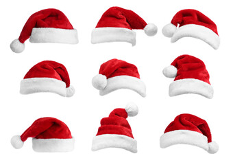 Set of red Santa hats on white background