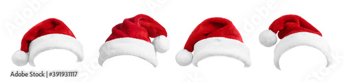 Fototapeta Set of red Santa hats on white background. Banner design obraz