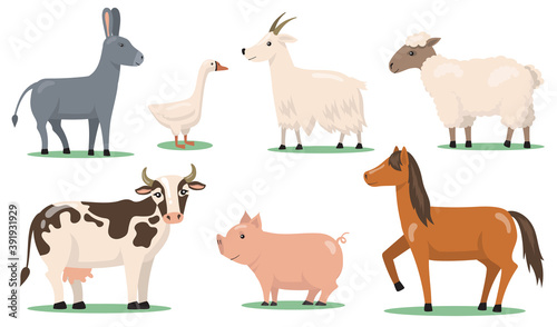 Various animals and pets on farm flat clipart set