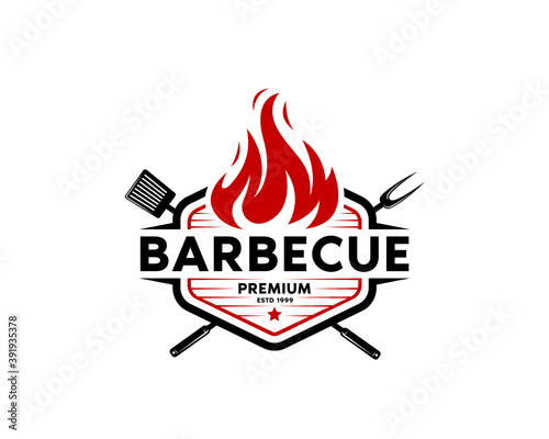 Barbecue restaurant - Logo icon of Barbecue, Grill and Bar with fire, grill fork and spatula Canvas