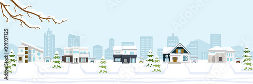 Fotomural Winter suburb townscape, banner ratio