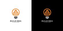 Building Idea Lamp Logo Vector Template Design