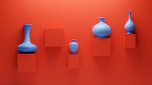 3d Blue Clay Pots And Vases On...