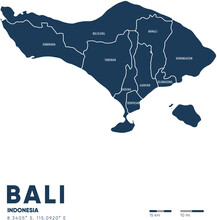 Bali Map Vector Illustration Peta Indonesia