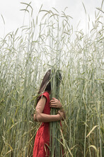 Anonymous Girl In Red Dress In A Wheat Field