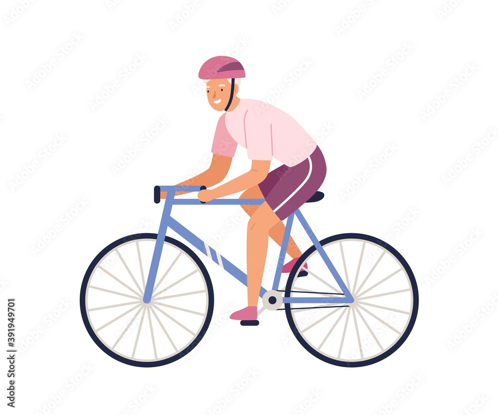 Fototapeta Elderly female character riding bicycle in sportswear. Happy sportswoman cycling isolated on white. Healthy and active lifestyle scene. Vector illustration in flat cartoon style